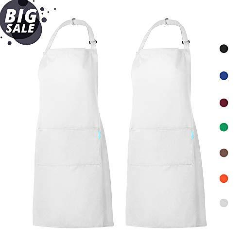 esonmus Schürze Kochschürze Küchenschürze 2 Set mit 2 Taschen Latzschürze kochschürze für Frauen Männer Chef verstellbarem Nackenband (Weiß)