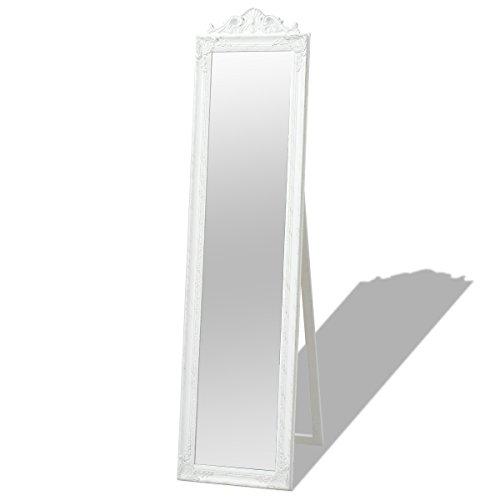 vidaXL 243691 Standspiegel Ankleidespiegel im Barock-Stil Landhaus Antik 160x40 cm Weiß, Holz, One Size