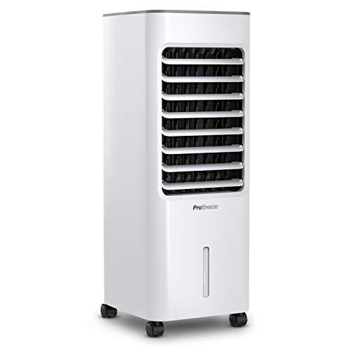 Pro BreezeTM 5 Liter Mobiler Luftkühler mit 4 Betriebsarten, 3 Geschwindigkeitsstufen, LED Anzeige + Fernbedienung | Klimagerät mit Wasserkühlung, Ventilator, Luftbefeuchtung und Nachtmodus