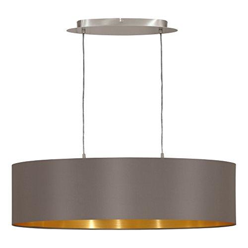 EGLO 31614 Hängeleuchte Maserlo Nickel-Matt Schirm, cappucino / gold stahl, 78 cm