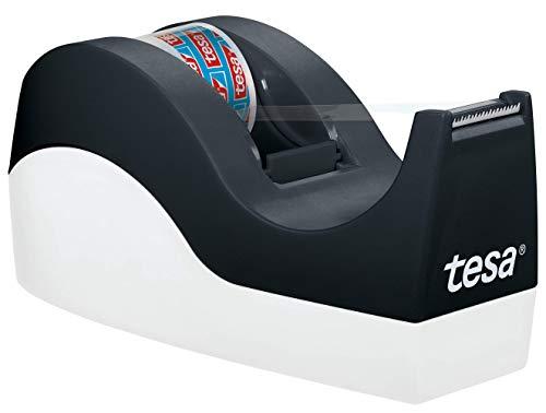 tesa Easy Cut Orca Tischabroller (rutschfest, einfache Handhabung, sauberer Schnitt mit 1 Rolle tesafilm kristall-klar 10m:19mm)