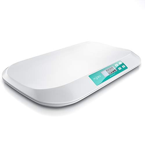 MyBeo - Babywaage digital | Wiegefläche 54 x 26 cm | 50 g bis 20 kg | 5 Gramm Genauigkeit | Tierwaage | Kinderwaage | für Babys + Tiere | 3 Zoll (7,6 cm) Display | Touchbuttons