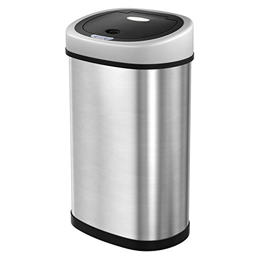 SONGMICS Sensor Mülleimer 50L Abfalleimer Automatik Abfallbehälter Müllbehälter für Küche Edelstahl LTB92NG