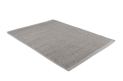 LIFA LIVING Handangefertigter Wollteppich im Vintagestil | 70% Wolle und 30% Baumwolle 140 x 200cm (Grau)