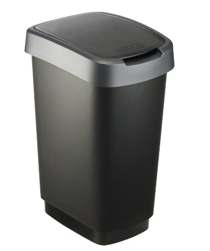 """Rotho Mülleimer """"Twist"""" 25 Liter - 33.3 x 25.2 x 47.6 cm - Papierkorb aus Kunststoff (PP) in schwarz/dunkelsilber - Abfallbehälter mit Schwing- oder Klappdeckel"""