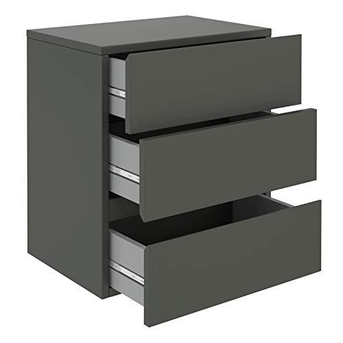 CARO-Möbel Nachtkommode Anno Wandregal Nachtschrank hängend mit 3 Schubladen in grau