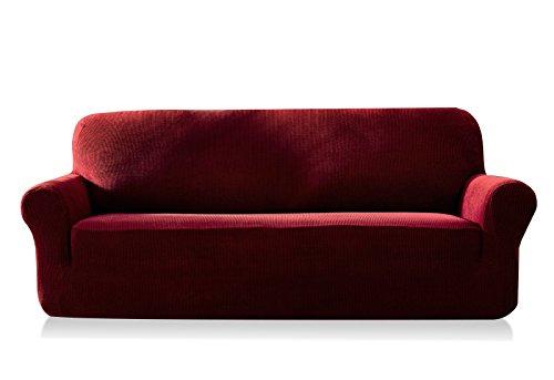 Subrtex 3-Sitzer kariert Sofabezug Sofahusse Stretchhusse Sofaüberwurf Couchhusse Spannbezug (Sofa, Weinrot)