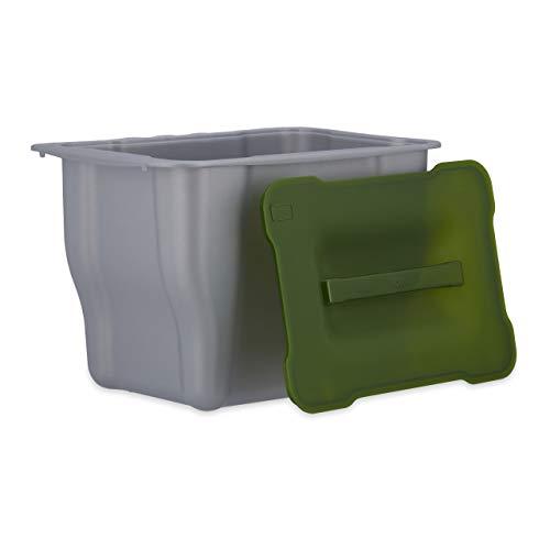 Relaxdays Abfallbehälter für die Küche, H x B x T: 17,5 x 24,7 x 18,5 cm, für Biomüll, mit Deckel, 5 Liter, anthrazit