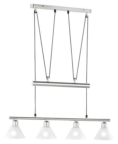 Trio-Leuchten 3751041-07 Jojo-Balkenpendel, 4xE14,max.40W, Nickel matt, Glas opal matt weiß [Energieklasse n/a]