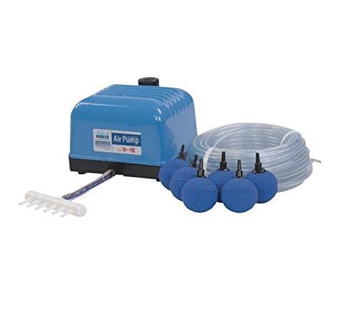 Aquaforte Luftpumpenset bestehend aus Hi-Flow Luftpumpe'V10' + 25 m Luftschlauch (Ø 4 x 6mm) + 4x Ø 5 cm Luftstein! Sehr leise und kräftige Pumpe