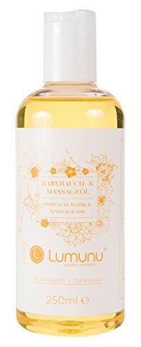 Deluxe Babybauch & Massage Öl (250ml), 100% natürliches Körperöl mit Q10, Schwangerschafts Body Oil aus hochwertigen Ölen