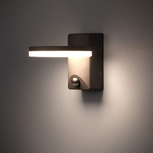 LED Außenlampe mit Bewegungsmelder Außenbeleuchtung Aussenleuchte wetterfest Türleuchte für Garten 220-240V 4000K 13.5W IP44 LIGHTMAN
