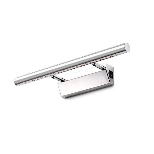 Spiegellampe Badlampe Badleuchte Spiegelleuchte Wandleuchte mit Schalter,180°Winkel-Einstellbar, Warmweiß 5W Edelstahl Led Badezimmerlampe für Bad Spiegel Leuchte, 40cm