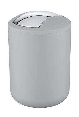 Wenko 22249100 Kosmetikeimer Brasil S absolut bruchsicher Fassungsvermögen 2 L, Thermoplastischer Kunststoff TPE, grau, 14 x 14 x 21 cm