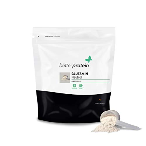 L-Glutamin - Neutral - Made in Germany - Laborgeprüft - BetterProtein - 100% reine hochdosierte Aminosäure zum Muskelaufbau und Abnehmen Vegan & Natürlich - 250g Beutel