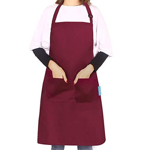 esafio Schürze Kochschürze Küchenschürze Latzschürze Verstellbarem Nackenband, Rot