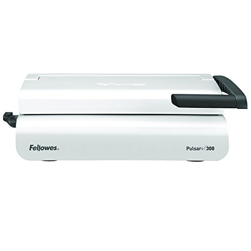 Fellowes Pulsar+ 300 Plastikbindegerät mit Dokumentmessfunktion, Bindeleistung 300 Blatt, Stanzleistung 20 Blatt, weiß/grau