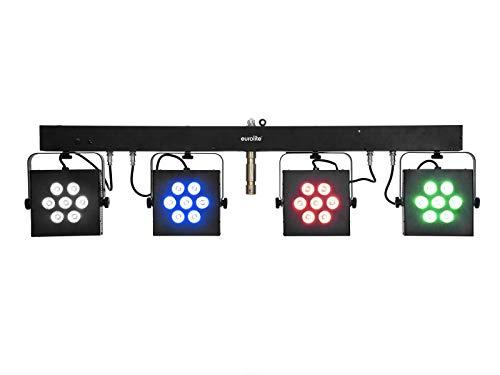 EUROLITE LED KLS-3002 Next Kompakt-Lichtset | Bar mit 4 lichtstarken RGBAW/UV-Spots, QuickDMX-Buchse, IR-Fernbedienung und Tasche