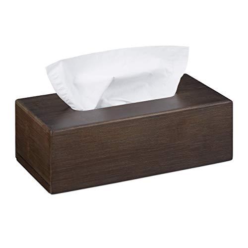 Relaxdays Tücherbox Bambus, Taschentuchbox mit Schiebeboden, Tissue Box für Taschentücher, HBT: 7,5x24x12cm, Dunkelbraun