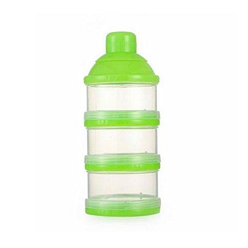 3-lagiges kanggest mehrfarbig Flasche für Baby Food Box Milchpulver Box transparent Notebook für Milch Freien für Babys Milchpulver Portionierer stapelbar Hohe Kapazität 17*7*3cm grün