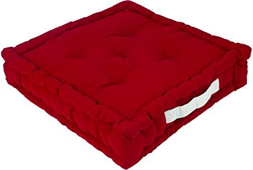 Alphadeco Sitzkissen Uni aus Baumwolle (170g/m2) - 45x45x10cm - Bodenkissen, Stuhlkissen, Sitzerhöhung (Rot/Salsa)