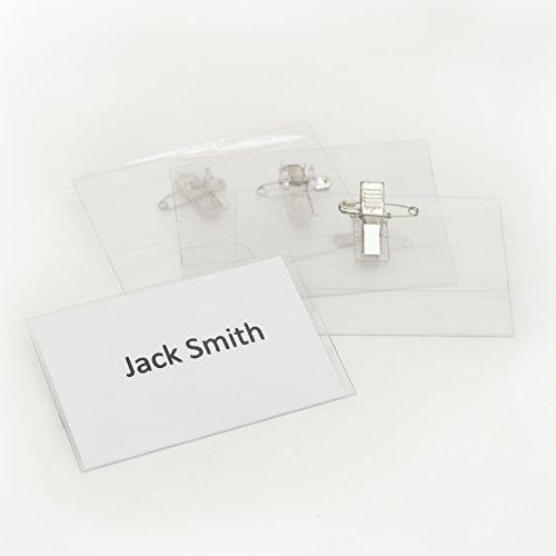 OfficeTree  50 professionelle Premium Kunststoff Namensschilder mit Halterclip und Nadel