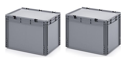 2x Eurobehälter 60 x 40 x 43,5 mit Scharnierdeckel inkl. gratis Zollstock 2er Set