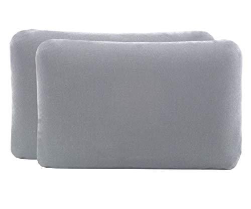 Kissenbezug Doppelpack (2er Set, Hellgrau uni) für Reisekissen oder Kinderkissen mit den Maßen 40x25 cm, speziell für VOLAR – 100% Baumwolle, nahtlos gestrickt, guter Fit, mit Reißverschluss