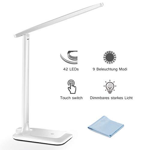 LED Schreibtischlampe, TOPELEK 42 LED Tischlampe mit Touch Control-Taste, Tischleuchte mit Speicherfunktion, 3 Helligkeit, 3 Farbtemperatur-Beleuchtungsmodi für Büro, Haus, Lesen, Studieren, Arbeit.