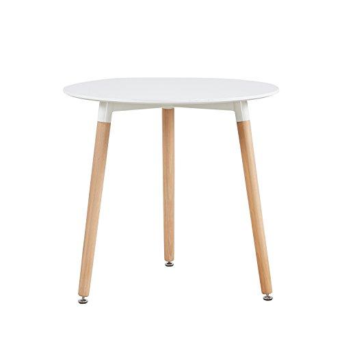 H.J WeDoo Runder Esstisch Küchentisch, Holz, 80*80*72 cm, Beine natur, weiß