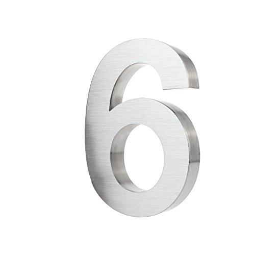 3D-Hausnummer 6 aus Edelstahl rostfreie & witterungsbeständige Hausnummern im 3D-Effekt in 20cm (Höhe) x 3cm (Tiefe) aus gebürstetem Edelstahl (V2A) inkl. Montagematerial