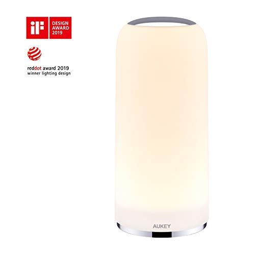 AUKEY Nachttischlampe Berührungssensitive Tischlampe mit Dimmbarem Warmem Weißlicht für Schlaf- und Wohnzimmer