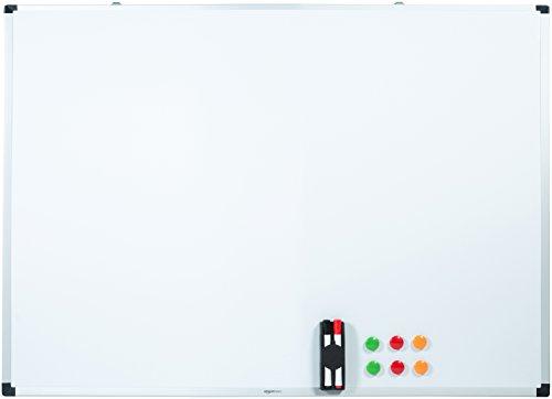 AmazonBasics Magnetisches Whiteboard mit Stiftablage und Aluminiumleisten, trocken abwischbar, 120 cm x 90 cm (B x H)
