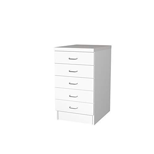 Flex-Well Küchenschrank BOCHUM | Auszug-Unterschrank | 1 Auszug, 3 Schubladen | Breite 50 cm | Weiß