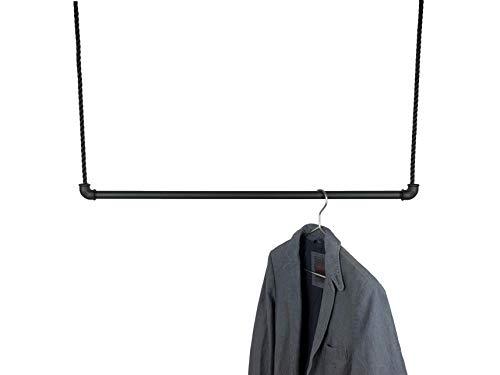 Hängegarderobe Schwarz Metall 50, 80 oder 100cm inkl 5m Seil, Kleiderstange für Kleiderbügel, Kleiderständer Industrial Design, Garderobe für Ankleide Büro