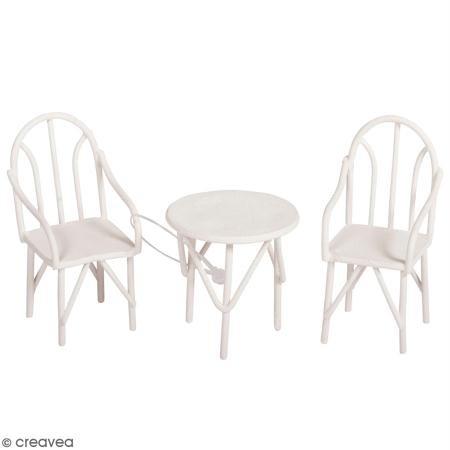 Rayher 46234102 Sitzgruppe 3tlg, weiß, 2 Stühle und 1 Tisch, SB-Btl 1 Set