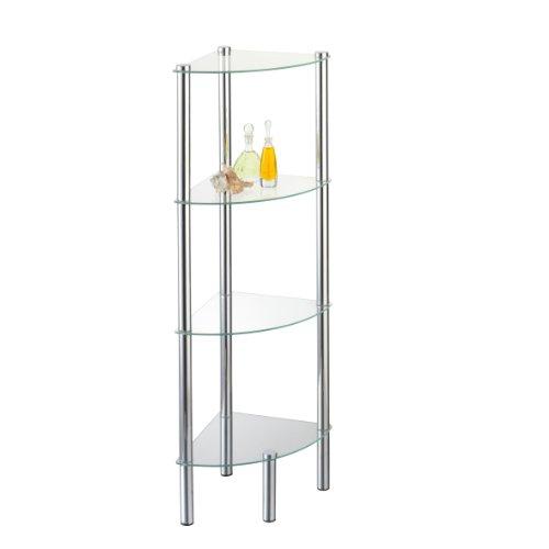 axentia Stand-Eckregal Solanio in Silber, Standregal für Bad & WC mit 4 Glasböden, rostfreies Badregal aus Glas & Chrom, Glasregal für das Badezimmer, Eck-Regal mit Wandmontage für festen Stand