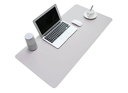 BUBM Office Komfort Leder Mauspad Extra groß Mous Mat Klassik Design Mousepad, Ultra Thin 2mm - 31.5 'x15.8' (Grau)