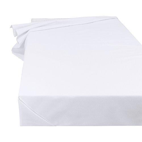 Betttuch Bettlaken Haustuch Tischdecke in Weiß, Größe 150 x 250 cm aus 100% Baumwolle