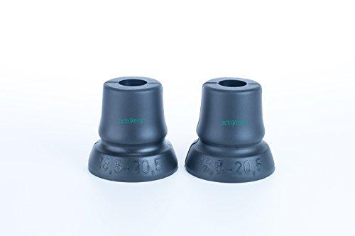 2er Set activera Gehhilfenfuß mit großer Auflagefläche, ideal für Unterarmgehstützen Gehstöcke Gehhilfen passend für Rohre mit D= 18,5 mm - 20,5 mm