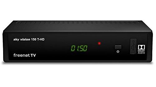 Sky Vision 150 T-HD DVBT2 Digital Receiver (freenet TV, Antennen-Fernsehen, Antennen-Receiver, HEVC, HDMI, USB 2.0, LAN, SCART, DOLBY DIGITAL PLUS) schwarz