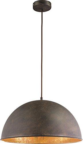 Hängelampe Vintage 1-Flammig Hängeleuchte Pendelleuchte Esszimmerlampe Rost-Farben (Industrie Pendellampe, Küchenlampe, 41 cm, Höhe 120 cm)