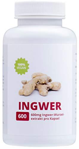 INGWER - 100% Vegan | Hochdosiert 600mg | Alleskönner | 90 Kapseln | Made in Germany