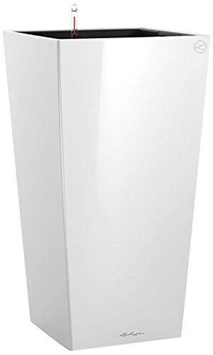 LECHUZA'CUBICO Premium 30' Pflanzgefäß mit Erd-Bewässerungs-System, Weiß Hochglanz, 30 x 30 x 56 cm