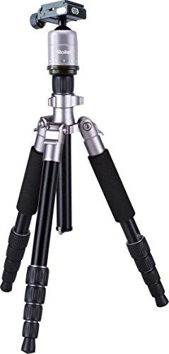 Rollei Compact (leichtes Reisestativ aus Aluminium mit geringem Packmaß, Schnellklemmenverschraubung und 360° Panorama, Kugelkopf) titan