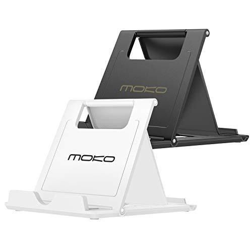 MoKo Mini Portable Ständer(2 Pack), Desktop Halterung für 6-8' Tablet/E-Reader/Handy iPhone 11 Pro Max/11 Pro/11/XS Max/XR/Xs/X, iPad Mini 5/4/3, Galaxy Note 10+/10, Google Pixel 4/4XL, Schwarz/Weiß
