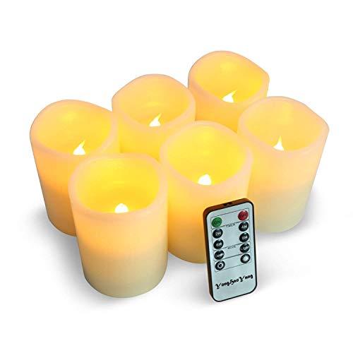 LED Kerzen,Flammenlose Kerzen 200 Stunden Dekorations-Kerzen-Säulen im 6er Set (3''*4''). Realistisch flackernde LED-Flammen 10-Tasten Fernbedienung mit 24 Stunden Timer-Funktion (6 * 1, Ivory)