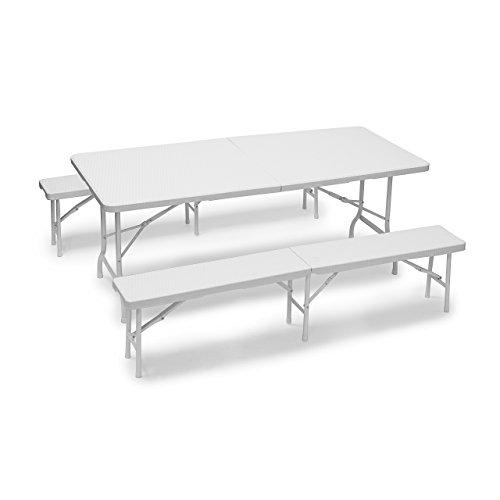Relaxdays Bierzeltgarnitur klappbar Bastian, 3-teiliges Gartenmöbel Set, einfarbig, H x B x T: 73 x 180 x 75 cm, weiß