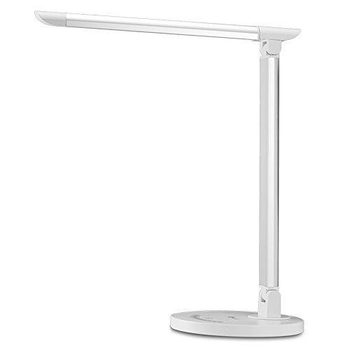 TaoTronics Schreibtischlampe LED Tischleuchte 5 Farb- und 7 Helligkeitsstufen dimmbar Touchfeldbedienung USB-Anschluss für Aufladung des Smartphones Weiß