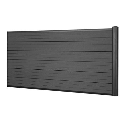 Mendler WPC-Sichtschutz Sarthe, Windschutz Zaun, Alu-Pfosten ~ Erweiterungselement niedrig, 1,85m anthrazit